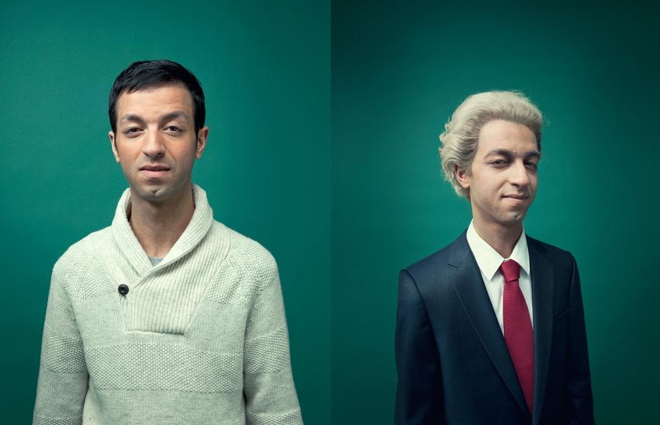 Tofik Dibi in Vrij Nederland: als Geert Wilders in de VN Satirespecial. Foto: Fotografie Maarten Kools, Grime en Pruiken Head Affairs