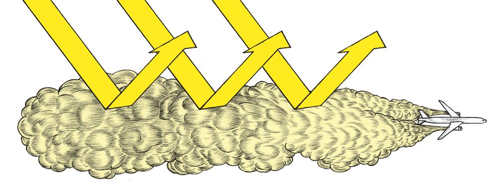 'Serieus' noemt Hamilton de techniek om een schild van zwaveldioxide de stratosfeer in te pompen. Illustratie: Tim Enthoven
