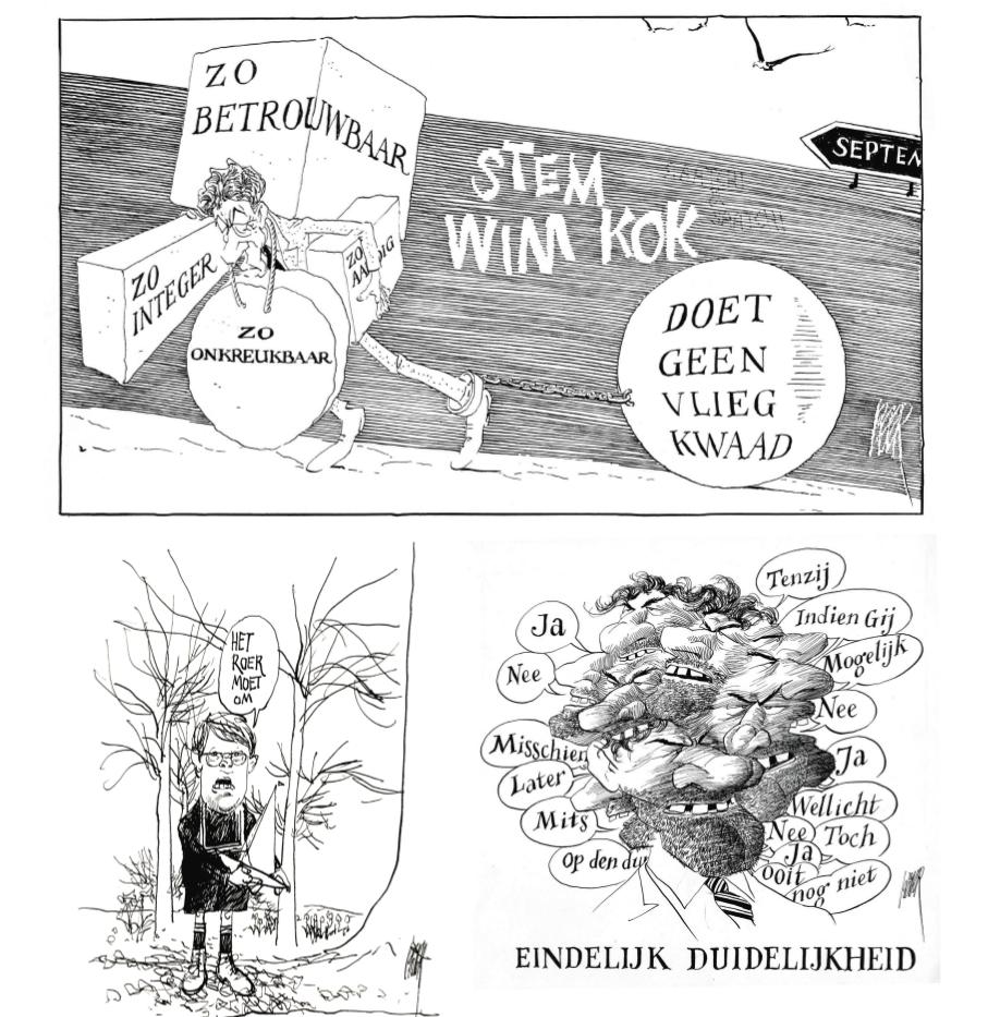 Boven: Wim Kok, 19 augustus 1989; rechtsonder: Ruud Lubbers, 9 juni 1984. Later kreeg je mensen als Balken ende (links en op p. 30), heel makkelijk, met dat 'ronde kinderhoofdje', maar daarom ook weinig eer aan te behalen.'