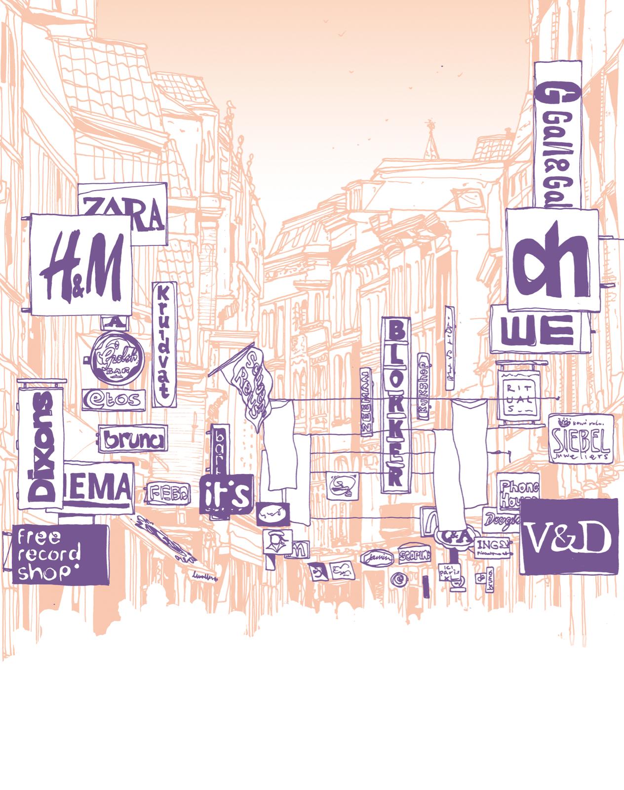 Winkelstraat vanaf 2000. Illustratie: Zenk One