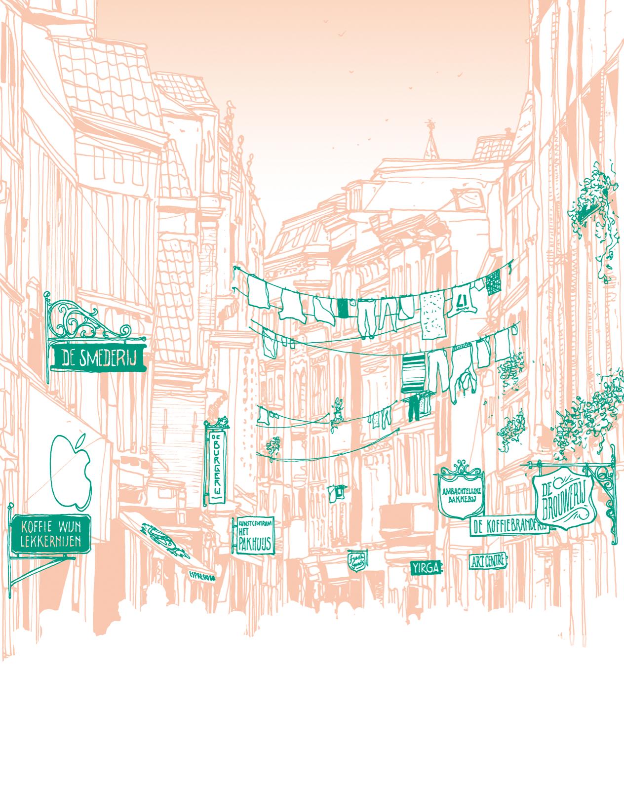 Wonen keert terug in de binnenstad, met veel koffietentjes en lunchzaken en minder winkels. Grote ketens bieden 'beleving', kleine speciaalzaken richten zich op de emo-shopper met cadeautjes, bieren, streekproducten. Verder: werkruimtes voor creatieve zzp'ers die hun producten verkopen, geholpen door hightech methodes. Illustratie: Zenk One