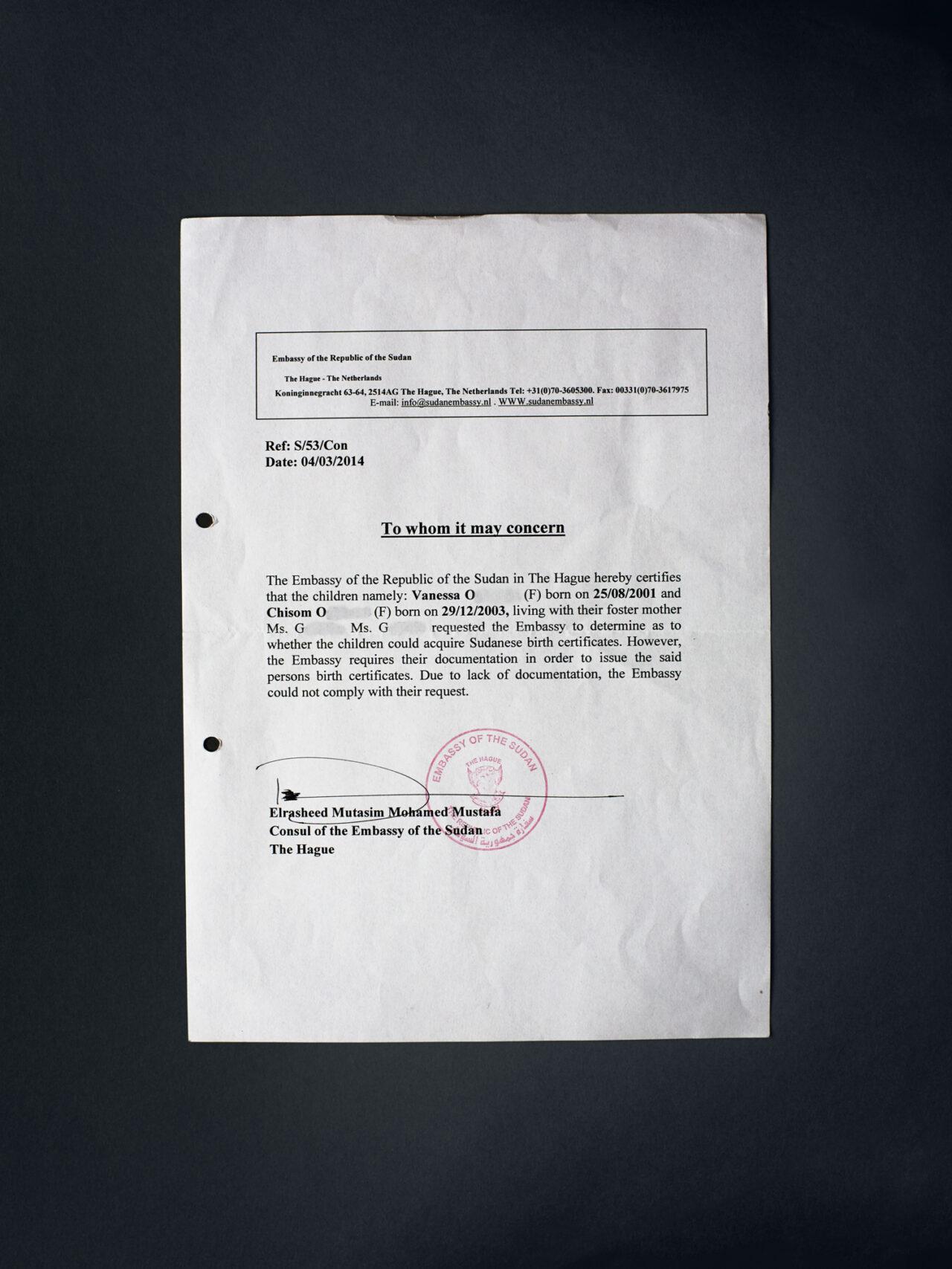 Verklaring van de Sudanese ambassade met betrekking op Vanessa en Chisoms identiteit.