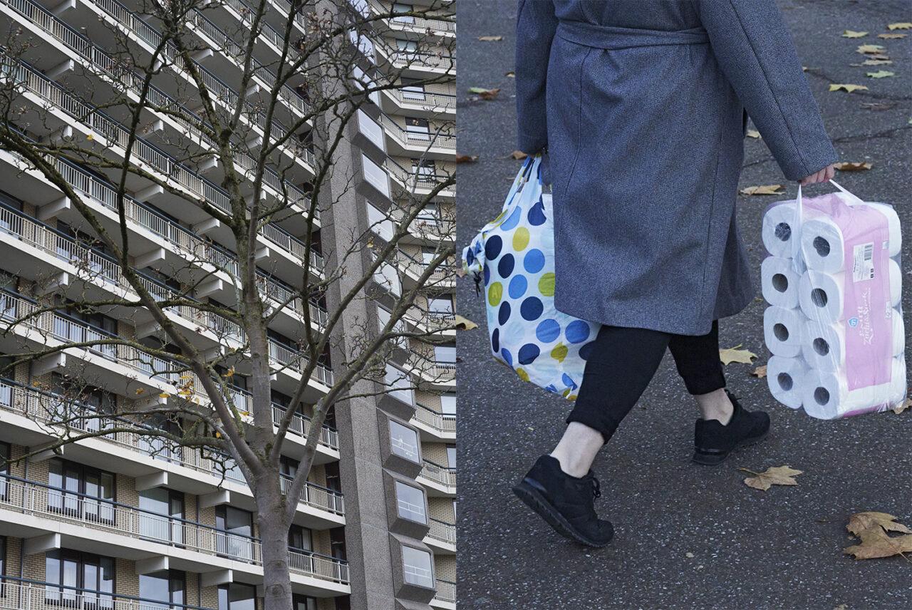 Tweeluik van foto's van Arnhemse flat respectievelijk een vrouw met boodschappentassen